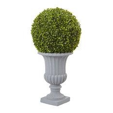 Boxwood Topiary with Urn in Green