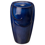 """Glitzhome,LLC - 20.5""""H Cobalt Blue Ceramic Outdoor Fountain with Pump and LED Light - 1) Calming atmosphere: this fountain cascades water down the side of the ceramic urn to create a calming, zen-like atmosphere in your backyard. It features LED lights to provide a soft, warm glow so you can enjoy your fountain, day or night."""