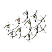 "Metal Abstract Fish Wall Sculpture, 39""x27"""
