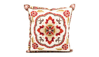 Mughal Embroidered Throw Pillow Cover