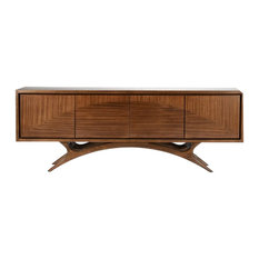 Luxe Modern MidCentury Media Console Cabinet | Wood Entertainment Center Elegant