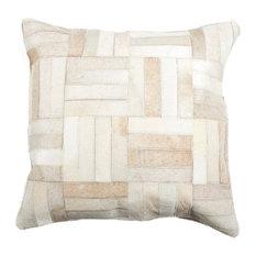 """18""""x18"""" Torino Parquet Cowhide Pillow, Natural"""