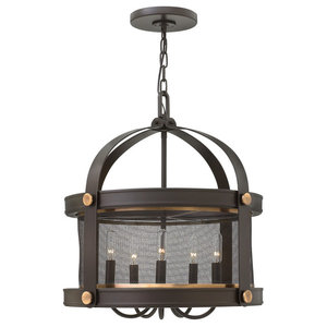 Holden Industrial Chic Pendant Chandelier, Buckeye Bronze, 5 Lights