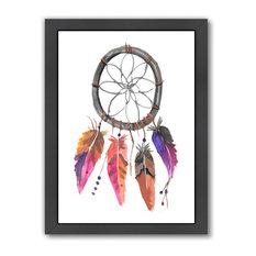 """Pink Watercolor Dream Catcher,"" Art Print, 9""x11""x1"""