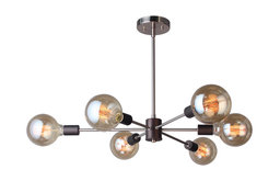 16116-G125 Ethan 6-Light Chandelier, Satin Nickel and Bronze