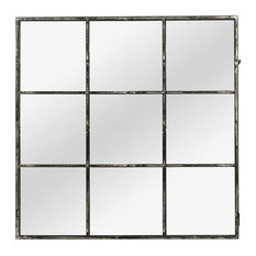 Window Pane Wall Mirror with Distressed Black Metal Frame, 118x118 cm