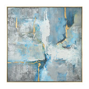 "Oversize Abstract Gold Gray Blue White Modern Art Painting, 61"" Square Framed"