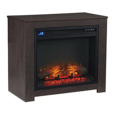 Fireplace Mantel With Fireplace Insert, Dark Brown