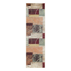 Conner Contemporary Abstract Multi-Color Runner Rug, 2' x 10'