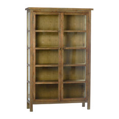 Design Mix Furniture - Reclaimed Wood and Glass Display Cabinet - Bookcases