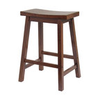 Antique Walnut Saddle Bar Stool, 24""