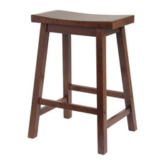 "MOD - Queensland Saddle-Seat Bar Stool, Antique Walnut, 24"" - Bar Stools and Counter Stools"