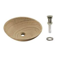 Sandstone Vessel, Drain: Brushed Nickel
