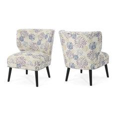 GDF Studio Dumont Farmhouse Accent Chairs, Purple Floral/Matte Black, Set of 2