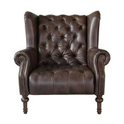 Classic leather tufted Wing chair