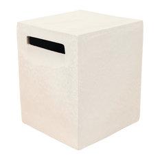 Davenport Square Cube Stools, Set of 2, Snow White