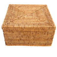 Artifacts Rattan™  Storage Box With Lid, Letter File, Honey Brown