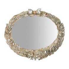 Roses Oval Wall Mirror, 35x30 cm
