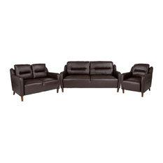 Flash Furniture Newton Hill 3 Piece Leather Sofa Set In Brown