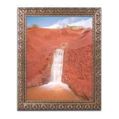 Pierre Leclerc 'Red Dirt Waterfall' Ornate Framed Art, 20x16