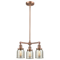 Small Bell 3-Light Chandelier, Antique Copper, Silver Plated Mercury Small Bell
