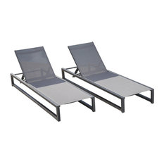 GDF Studio Mottetta Outdoor Aluminum Chaise Lounge With Mesh Body, Set of 2