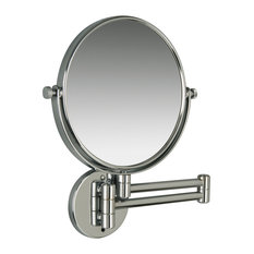 Contemporary Wall Mounted Mirror With 3-Times Magnification, Chrome