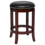 """Boraam - Cordova Swivel Stool, Cherry, 24"""" - The Cordova Swivel Stool from Boraam Industries, Inc. boasts a solid hardwood footrest. Boasting a 360-degree swivel mechanism, this piece has been designed with your comfort in mind. This stool also features a high-density foam seat cushion upholstered in shiny black bonded leather and adorned with 17th Century-inspired genuine brass nailhead detailing. Exuding a warm, luxurious feel, thanks to its rich colors and sumptuous textures, this swivel stool from Boraam Industries, Inc. makes a sophisticated addition to any interior space."""