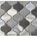 """Rocky Point Tile - Uptown Brushed Aluminum Arabesque Mosaic Tile, Chip Size: 2""""x2"""", 12""""x12"""" Sheet - Smart, sophisticated, and just plain gorgeous! These are a smaller arabesque tile than our glass tiles. Each tile is made from brushed aluminum. They are roughly 2"""" x 2"""" in size. Colors include 3 shades of silvery grey. The darkest grey is almost black. These tiles are going to be the highlight of your new kitchen."""