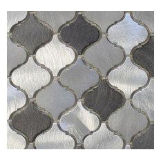 "Uptown Brushed Aluminum Arabesque Mosaic Tile, Chip Size: 2""x2"", 12""x12"""