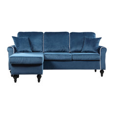Divano Roma Furniture   Traditional Small Space Velvet Sectional Sofa With  Reversible Chaise, Blue