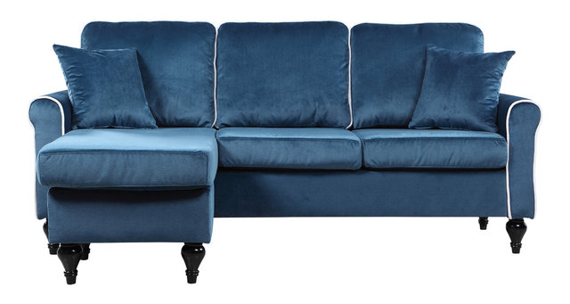 Beautiful Traditional Small Space Velvet Sectional Sofa With Reversible Chaise, Blue