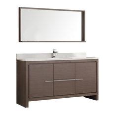 "Allier 60"" Gray Oak Single Sink Bathroom Vanity with Mirror, Fiora Nickel Faucet"