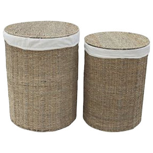 Seagrass Round Laundry Baskets, Set of 2