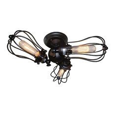 LNC Wire Cage Ceiling Lights, 3-Light Adjustable Ceiling Lamp, Black Finish