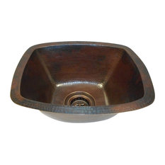 "16"" Rounded Edge Rectangular Copper Bar Prep Sink 3.5"" Drain Included Dual Mount"