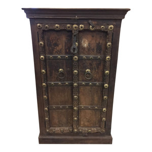 Mogul Interior - Consigned Antique Cabinet Brass Patina Floral Chakra Haveli Armoire Furniture - Accent Chests And Cabinets