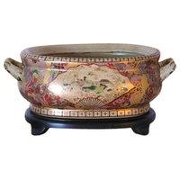 Beautiful Chinese Satsuma Porcelain Foot Bath Basin Pot