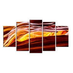 """Yellow in Antelope Canyon"" Landscape Photo Metal Wall Art, 5 Panels, 60""x32"""