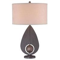 1-Light Table Lamp, Iron/Antique Bronze, Light Brown Suede