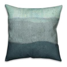 "Blue Ombre Coastal Stripes 18""x18"" Outdoor Coastal Throw Pillow"