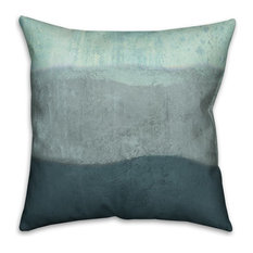 "Blue Ombre Coastal Stripes 16""x16"" Outdoor Coastal Throw Pillow"