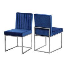 Giselle Velvet Dining Chairs, Set of 2, Navy, Chrome Base