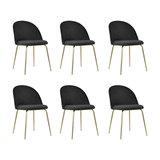 Millennial Brass Velvet Upholstered Dining Chair, Soft Black, Set of 6