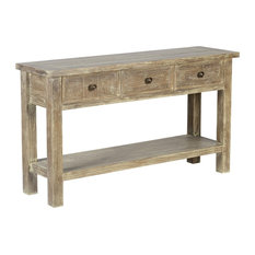 Kosas   Gerald Reclaimed Pine 3 Drawer Console Table By Kosas Home   Console  Tables