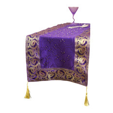 """Hand Embroidered Table Runner, Plum Purple, 120""""x17"""""""