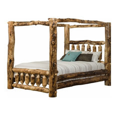 Furniture Barn USA - Rustic Aspen Log Canopy Bed King Size - Canopy Beds  sc 1 st  Houzz & Rustic Canopy Beds For Less | Houzz