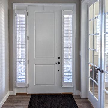 Front Entry door side light plantation shutters