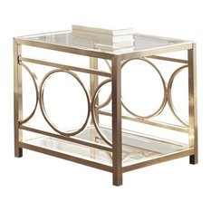 Bowery Hill Square Glass Top End Table In Gold Chrome