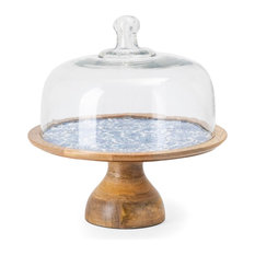Imax Jemmi Blue And White Decal Wood Cake Stand With Dome 23470